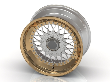 rims: The gold rims on a white background