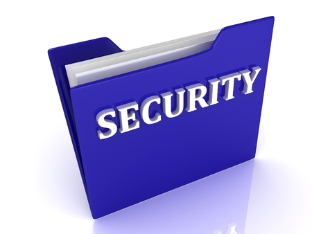 SECURITY bright white letters on a blue folder on a white background photo