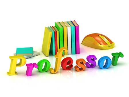 Professor inscription bright volume letter and textbooks and computer mouse on white background photo