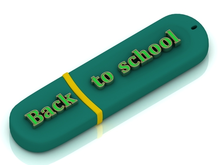 Back to schooll - inscription bright volume letter on USB flash drive on white background photo