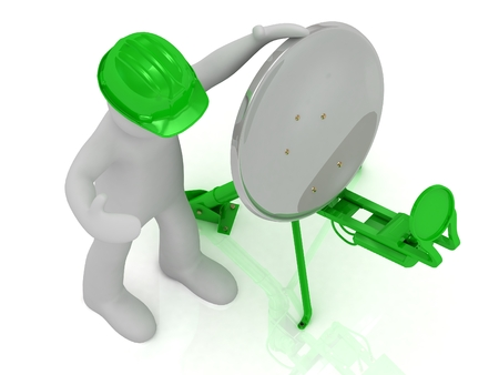 man adjuster in an green helmet adjusts the green satellite dish on a white background