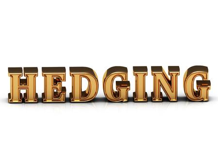 hedging: HEDGING inscription large golden letter on white background. Concept-illustration Stock Photo