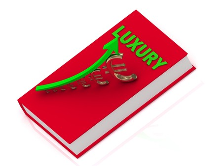 rich couple: LUXURY book and statuette growing golden euro with green arrow. Thick book in golden cover with inscription