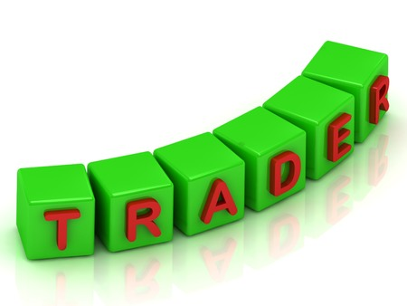 trader: Trader Inscription on the green cubes Stock Photo