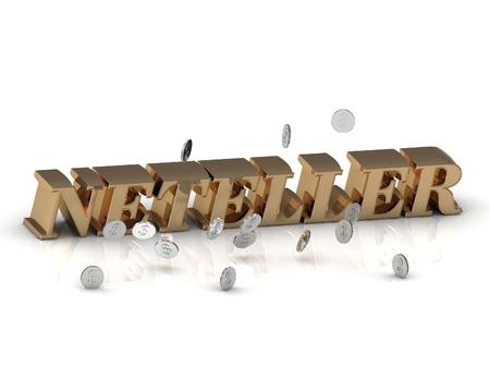 letras de oro: NETELLER - letras de oro brillantes y dinero en un fondo blanco Foto de archivo