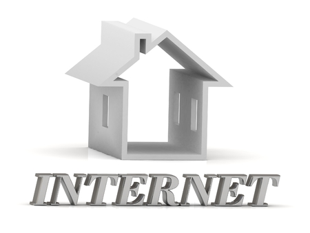 webcast: INTERNET- inscription of silver letters and white house on white background Stock Photo