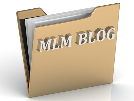 MLM BLOG - bright green letters on a gold folder on a white background