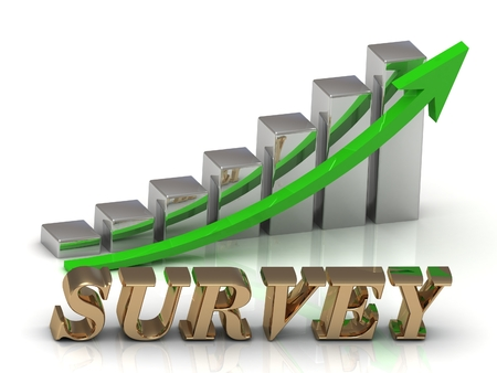 opinion poll: SURVEY- inscription of gold letters and Graphic growth and gold arrows on white background Stock Photo
