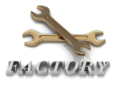 metal letters: FACTORY- inscription of metal letters and 2 keys on white background Stock Photo