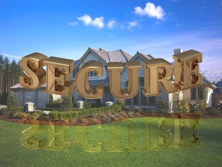 gold house: SECURE - inscription of bright gold letters on garden and house Stock Photo