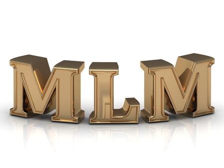mlm: MLM- inscription of bright gold letters on white background Stock Photo