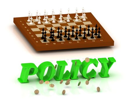documentation: POLICY - inscription of green letters and chess on white background