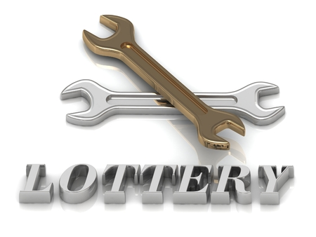 metal letters: LOTTERY- inscription of metal letters and 2 keys on white background