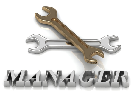 metal letters: MANAGER- inscription of metal letters and 2 keys on white background