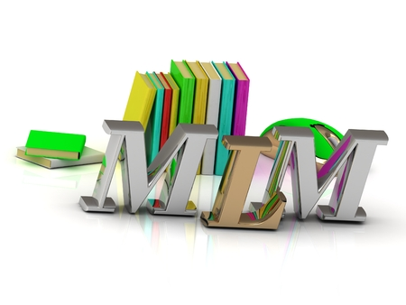 MLM - bright volume letter and textbooks and computer mouse on white background
