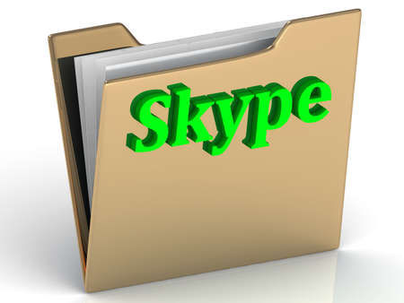 skype: Skype - bright green letters on a folder on a white background Stock Photo