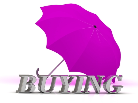 buying: BUYING- inscription of silver letters and umbrella on white background Stock Photo