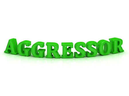aggressor: AGGRESSOR- inscription of bright green letters on white background Stock Photo