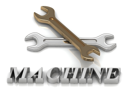 metal letters: MACHINE- inscription of metal letters and 2 keys on white background
