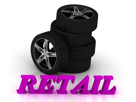 rims: RETAIL- bright letters and rims mashine black wheels on a white background