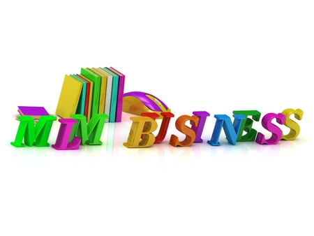 mlm: MLM BUSINESS - bright volume letter and textbooks and computer mouse on white background
