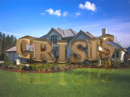 gold house: CRISIS- inscription of bright gold letters on garden and house