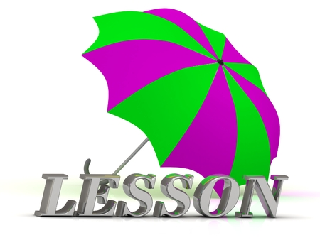 ltc: LESSON- inscription of silver letters and umbrella on white background Stock Photo