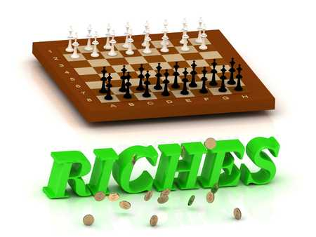 ltc: RICHES- inscription of green letters and chess on white background
