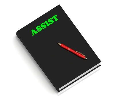 assist: ASSIST- inscription of green letters on black book on white background