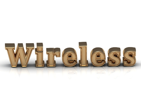 letras doradas: Wireless- inscription of bright gold letters on white background