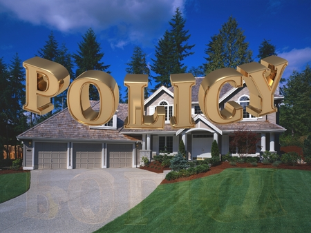 gold house: POLICY - inscription of bright gold letters on garden and house