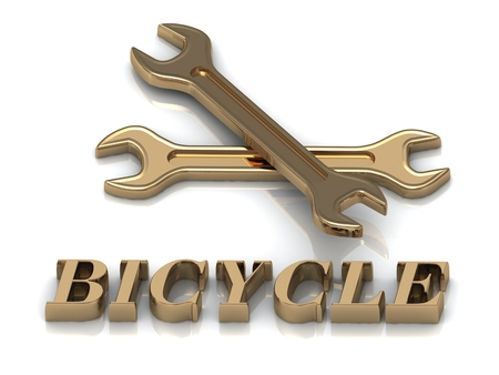 metal letters: BICYCLE- inscription of metal letters and 2 keys on white background