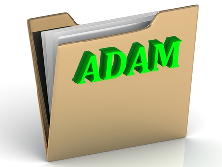 adam: ADAM- Name and Family bright letters on gold folder on a white background Stock Photo