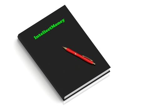 crypto: IntellectMoney - inscription of green letters on black book on white background