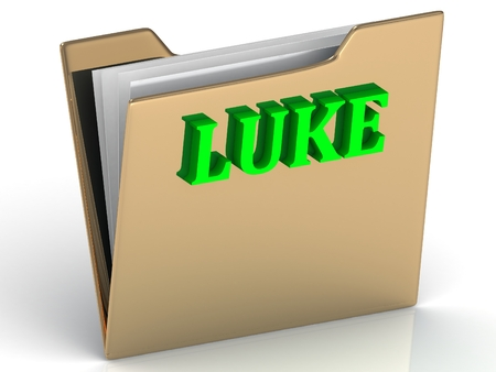 LUKE- Name and Family bright letters on gold folder on a white background