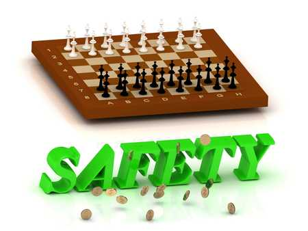 ltc: SAFETY- inscription of green letters and chess on white background