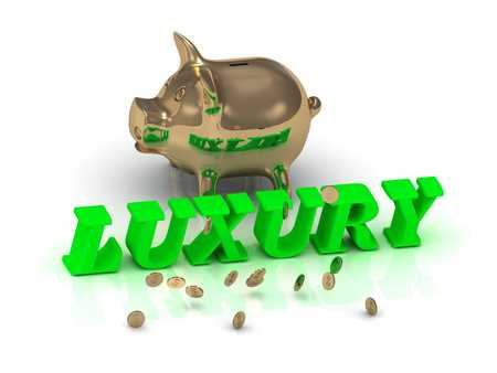 rich couple: LUXURY- inscription of green letters and gold Piggy on white background