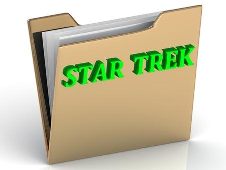 trek: STAR TREK- bright letters on a gold folder on a white background Stock Photo