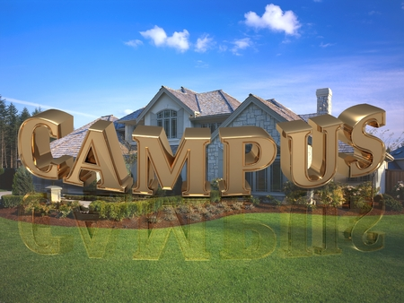 letras doradas: CAMPUS- inscription of bright gold letters on garden and house