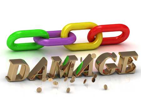 ruined house: DAMAGE- inscription of bright letters and color chain on white background