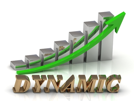 dynamic growth: DYNAMIC- inscription of gold letters and Graphic growth and gold arrows on white background