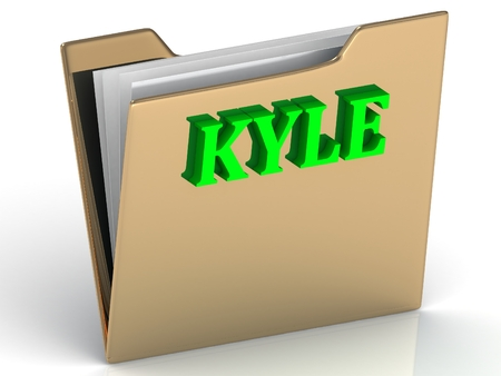 kyle: KYLE- Name and Family bright letters on gold folder on a white background Stock Photo