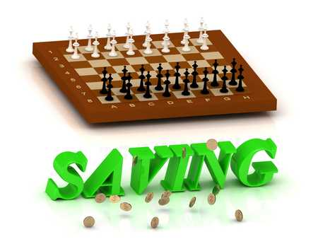 ltc: SAVING- inscription of green letters and chess on white background Stock Photo