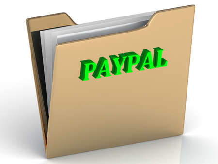 paypal: PAYPAL - bright letters on a gold folder on a white background Stock Photo
