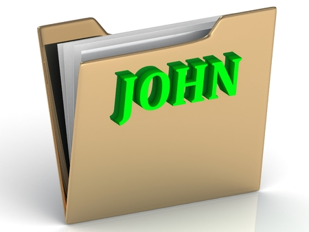 john: JOHN- Name and Family bright letters on gold folder on a white background