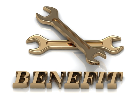 desirable: BENEFIT- inscription of metal letters and 2 keys on white background Stock Photo