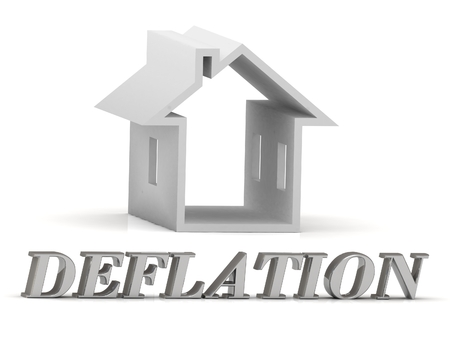 chafe: DEFLATION- inscription of silver letters and white house on white background