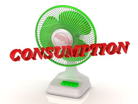 consumption: CONSUMPTION - Green Fan propeller and bright color letters on a white background Stock Photo