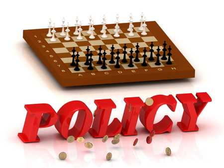ltc: POLICY- inscription of color letters and chess on white background Stock Photo