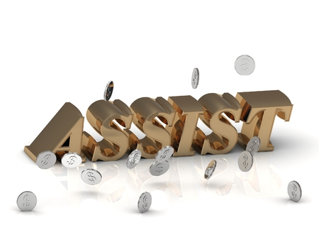 assist: ASSIST - inscription of gold letters on white background